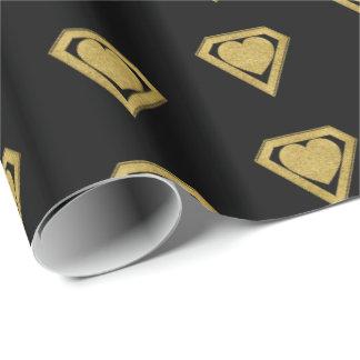 金ゴールドのスーパーヒーローの友人のバレンタインの包装紙 ラッピングペーパー
