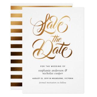 金ゴールドのタイポグラフィのブラシの文字の保存日付 カード
