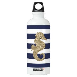 金ゴールドのタツノオトシゴ海軍白のストライプSIGGの水差し ウォーターボトル