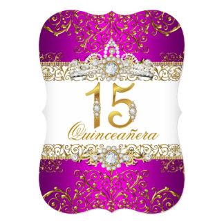 金ゴールドのダイヤモンドの魅力のキンセアニェラのピンクの招待状 12.7 X 17.8 インビテーションカード