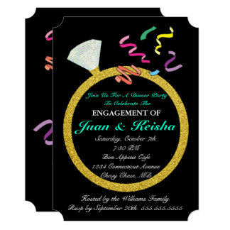 金ゴールドのダイヤモンド指輪の婚約の紙吹雪のパーティーカード カード