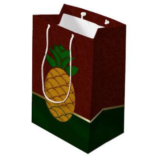 金ゴールドのダマスク織のパイナップルクリスマスのギフトバッグ ミディアムペーパーバッグ