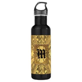 金ゴールドのダマスク織のモノグラム ウォーターボトル