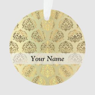 金ゴールドのダマスク織パターン オーナメント