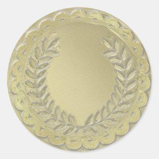 金ゴールドのテンプレートは月桂樹のリースをカスタマイズ ラウンドシール