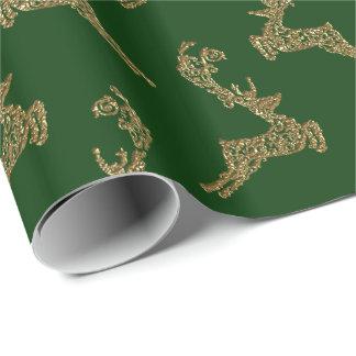 金ゴールドのトナカイのクリスマスの包装紙 ラッピングペーパー