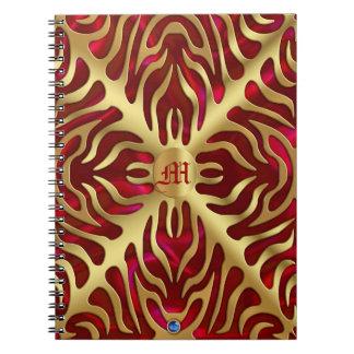 金ゴールドのトラの赤いサテンの緑豊かな金ゴールドのノート ノートブック