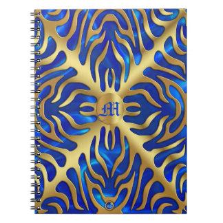 金ゴールドのトラの青いサテンの緑豊かな金ゴールドのノート ノートブック