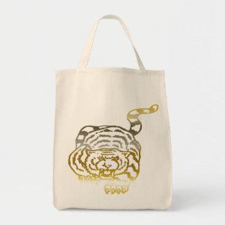 金ゴールドのトラ-オーガニックな食料雑貨のトート トートバッグ