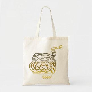 金ゴールドのトラ-予算のトート トートバッグ