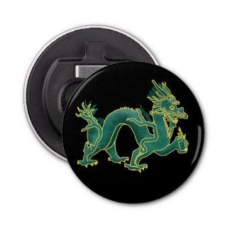 金ゴールドのトリムが付いている緑ドラゴン 栓抜き