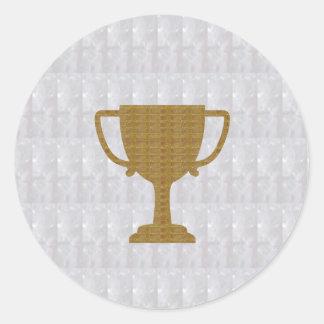 金ゴールドのトロフィの水晶白人の背景NVN287の勝者 ラウンドシール