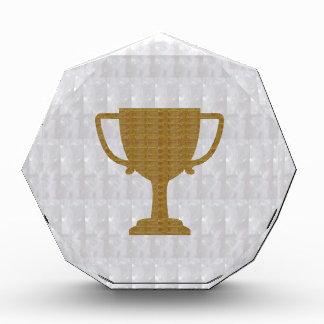 金ゴールドのトロフィの水晶白人の背景NVN287の勝者 表彰盾
