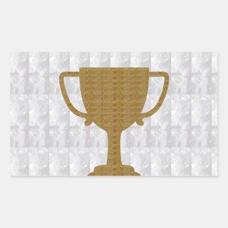 金ゴールドのトロフィの水晶白人の背景NVN287の勝者 長方形シール
