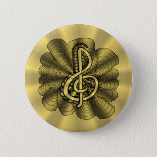 金ゴールドのト音記号音楽デザイン 缶バッジ