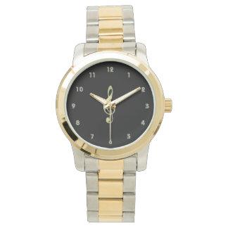 金ゴールドのト音記号3音楽腕時計 腕時計