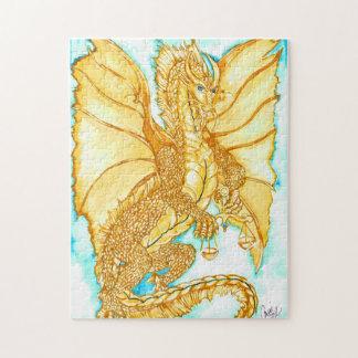 金ゴールドのドラゴン ジグソーパズル