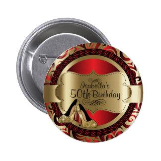 金ゴールドのハイヒールとの赤および金ゴールドの誕生日 5.7CM 丸型バッジ