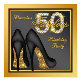 金ゴールドのハイヒールの靴のすばらしい第50誕生会 13.3 スクエアインビテーションカード