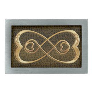 金ゴールドのハートの二重無限スネークスキン-バックル 長方形ベルトバックル