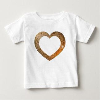 金ゴールドのハートフレーム ベビーTシャツ