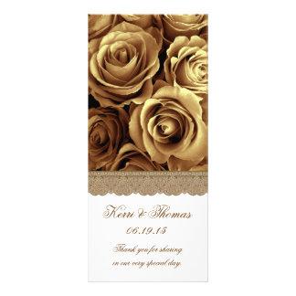 金ゴールドのバラおよび金ゴールドのレースの結婚式プログラム ラックカード