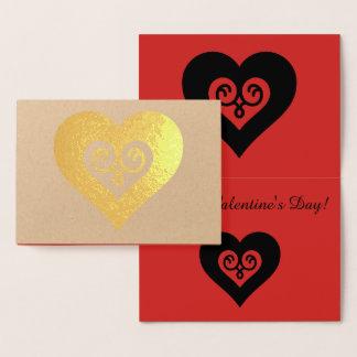 金ゴールドのバレンタインのハート 箔カード