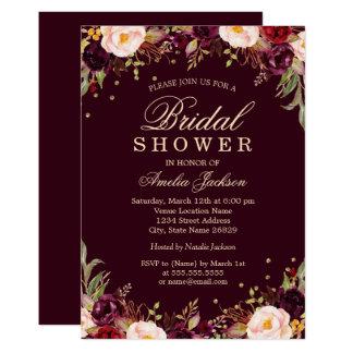 金ゴールドのバーガンディのエレガントな花のブライダルシャワー カード