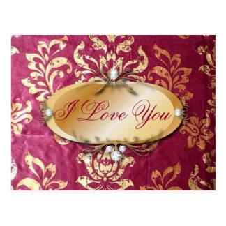 金ゴールドのバーガンディのグランジな花のビクトリアンなダマスク織 ポストカード