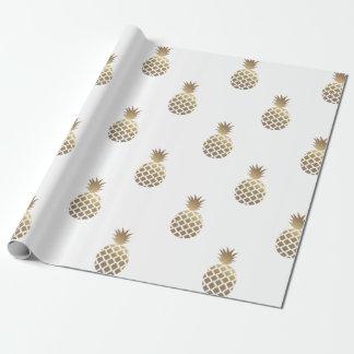 金ゴールドのパイナップルパターン包装紙の白 ラッピングペーパー