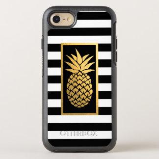 金ゴールドのパイナップルモダンで黒い及び白のストライプ オッターボックスシンメトリーiPhone 8/7 ケース