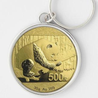 金ゴールドのパンダの硬貨 キーホルダー