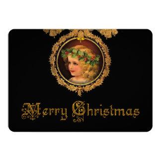金ゴールドのヒイラギフレームのヴィンテージのクリスマスの天使 カード