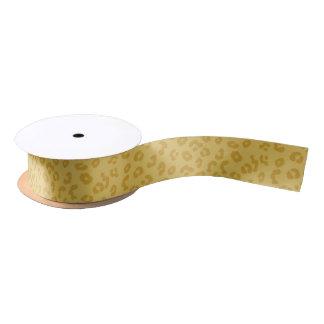 金ゴールドのヒョウのプリント サテンリボン