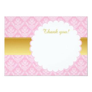 金ゴールドのピンクのダマスク織のサンキューカードのブランク カード