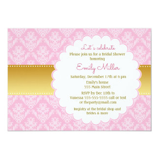 金ゴールドのピンクのダマスク織のブライダルシャワーの招待状 カード