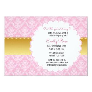 金ゴールドのピンクのダマスク織の子供の誕生日の招待状 カード