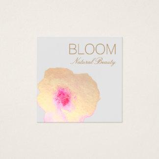 金ゴールドのピンクの水彩画の花柄の正方形 スクエア名刺
