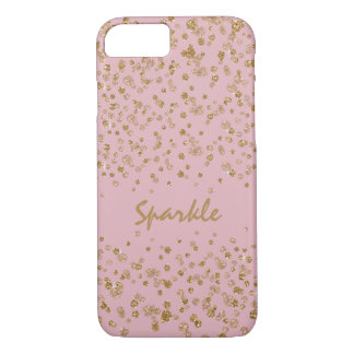 金ゴールドのピンクの紙吹雪の魅力的なグリッターの輝き iPhone 8/7ケース