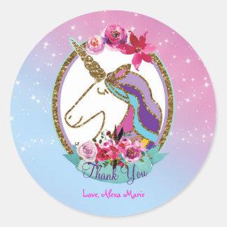 金ゴールドのピンクの紫色の魔法のユニコーンの誕生会 ラウンドシール