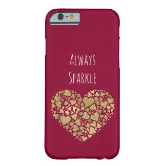 金ゴールドのピンクの輝きのきらびやかなハート BARELY THERE iPhone 6 ケース