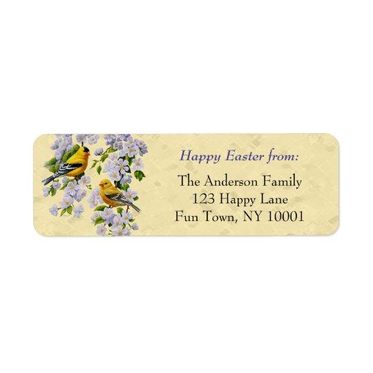 金ゴールドのフィンチ及びAppleの花の黄色 返信用宛名ラベル