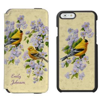 金ゴールドのフィンチ及びAppleの花の黄色 Incipio Watson™ iPhone 6 ウォレットケース