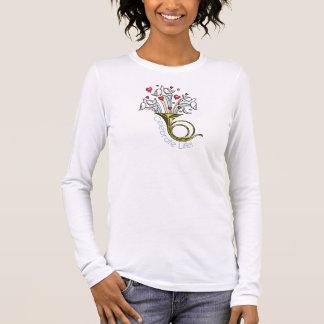金ゴールドのフレンチ・ホルン、鳩、ハートは、生命を祝います Tシャツ