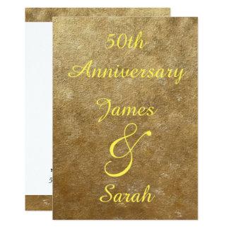 金ゴールドのブレンドの第50結婚記念日の招待状 12.7 X 17.8 インビテーションカード