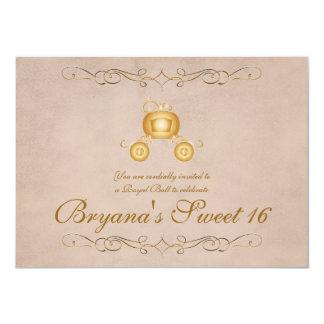 金ゴールドのプリンセスシンデレラキャリッジパーティの招待状 カード