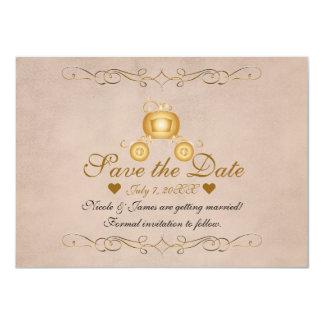 金ゴールドのプリンセスシンデレラキャリッジ保存日付 カード