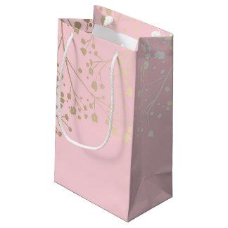 金ゴールドのベビーの呼吸エレガントなピンクの結婚式 スモールペーパーバッグ