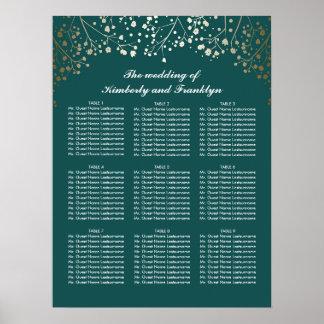 金ゴールドのベビーの呼吸ティール(緑がかった色)の結婚式の座席の図表 ポスター