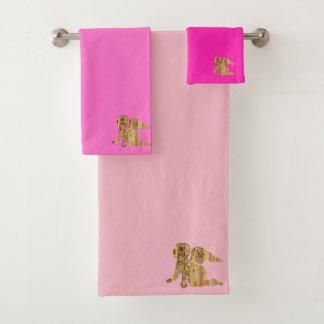金ゴールドのベビーの天使(ピンク) バスタオルセット